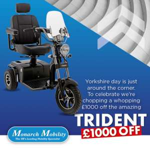 Trident 3-Wheel Mobility Scooter | 8mph Class 3 and Road Legal Mobility Scooter | Monarch Mobility 0808 102 2218