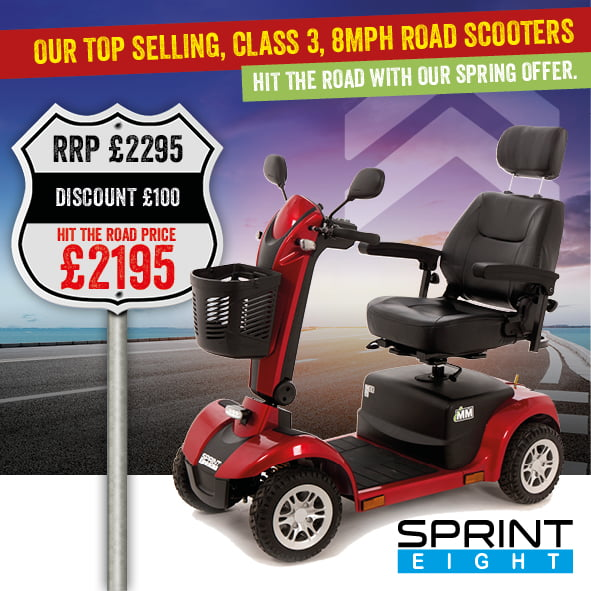 Sprint 8 mobility scooter | Mobility Scooter Specialists | Motability Scheme | Monarch Mobility 0800 002 9633