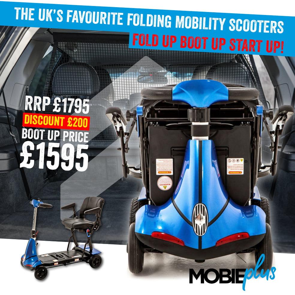 Mobie Plus Folding Mobility Scooter | 4mph Folding Mobility Scooter | Mobility Scooter Specialists | Motability Scheme | Monarch Mobility 0800 002 9633