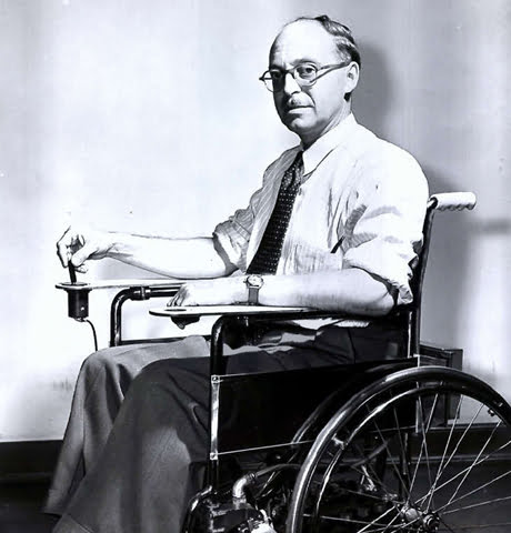 George Klein in his prototype electric wheelchair